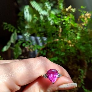 Vibrant pink stone ring white gold